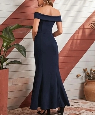 Picture of Off-Shoulder Split Thigh Bodycon Long Dress