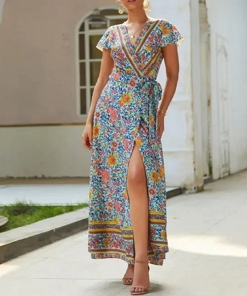 Picture of Tribal Print Tie Side Wrap Maxi Dress
