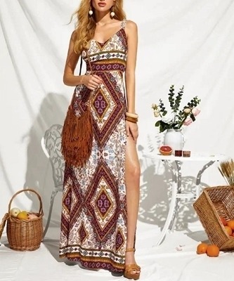 Picture of Boho Tie Back Split Thigh Tribal Print Maxi Dress