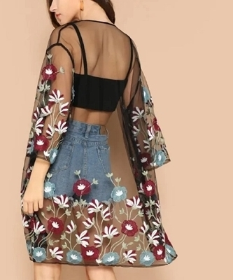 Picture of Flower Embroidery Sheer Kimono