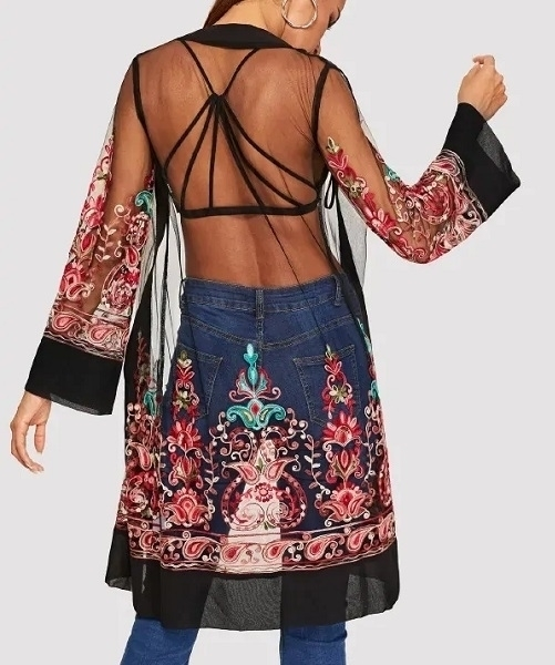 Picture of Open Front Mesh Flower Embroidered Kimono