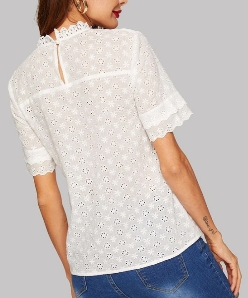 Picture of Cotton Eyelet Scallop Mock Neck Top