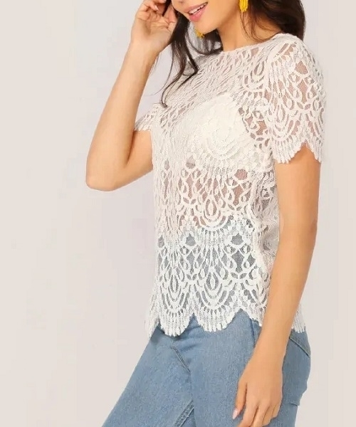 Picture of Scallop Edge Sheer Lace Top