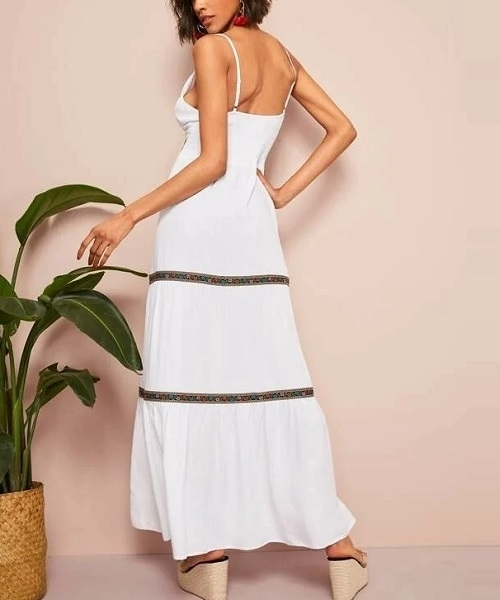 Picture of Surplice Neck Shirred Back Aztec Print Maxi Slip Dress