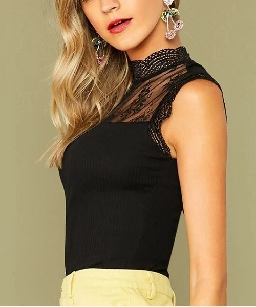 Picture of Keyhole Back Lace Yoke Insert Rib Top