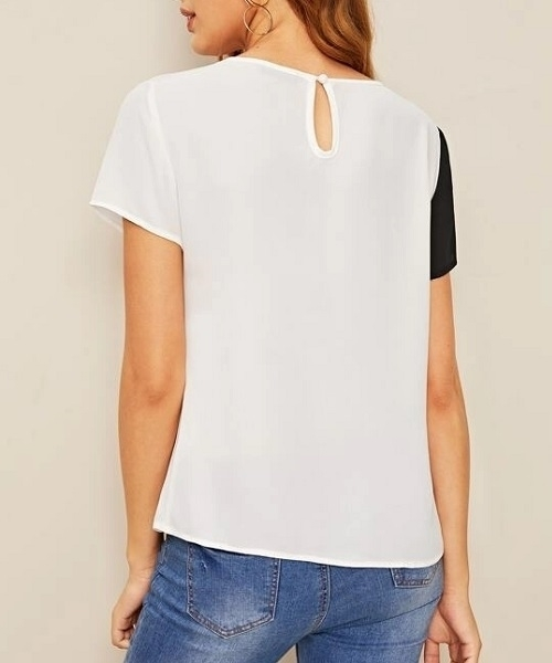 Picture of Sequins Contrast Cut-and-sew Top
