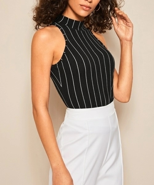 Picture of Halter Striped Fitted Tank Top