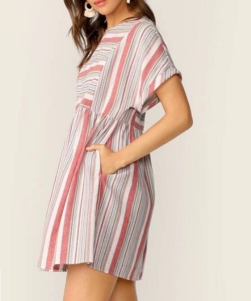 Picture of Cotton Roll Tab Sleeve Striped Dress