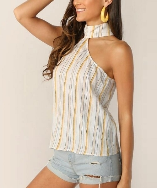 Picture of Keyhole Back Striped Halter Top