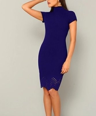 Picture of High Neck Laser Cut Scallop Hem Pencil Dress