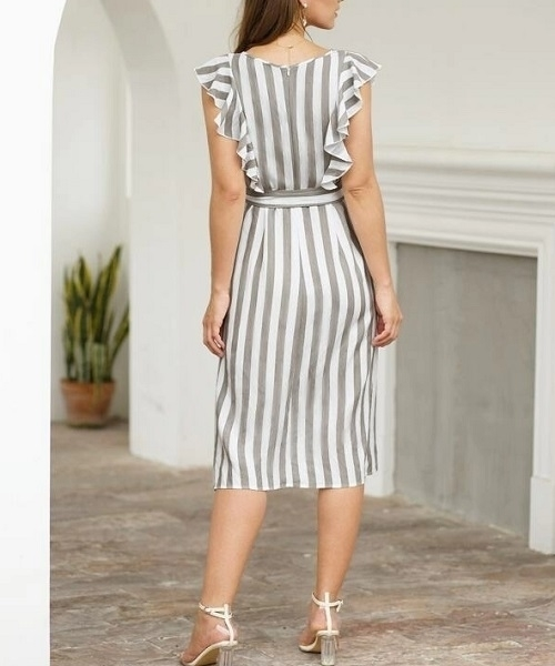Picture of Striped Button Front Ruffle Trim Belted Dress