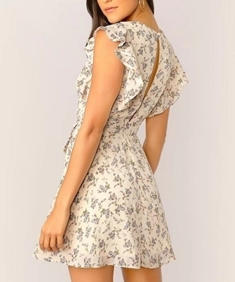 Picture of Floral Ruffle Armhole Pleated Belted Dress