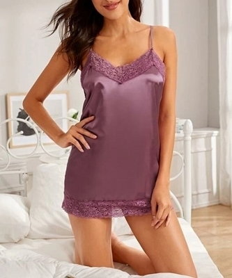 Picture of Contrast Lace Satin Feel Babydoll