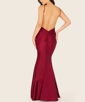 Picture of Ruched Detail Open Back Fishtail Hem Cami Formal Dress
