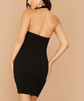 Picture of Open Back Split Side Bodycon Halter Dress