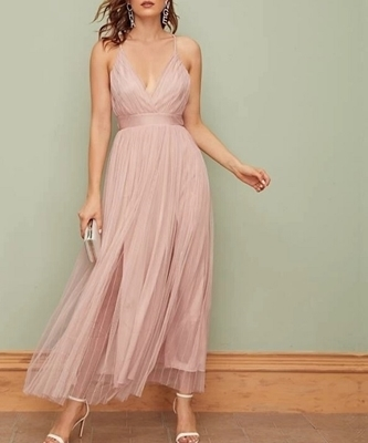 Picture of Plunging Neck M-slit Mesh Overlay Pleated Slip Formal Dress
