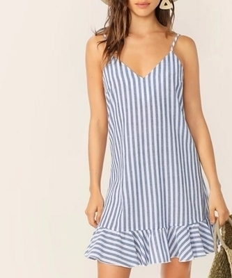 Picture of Striped Ruffle V-Neck Loose Slip Dress