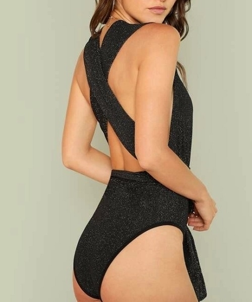 Picture of Glitter Plunge Neck Crisscross Bodysuit