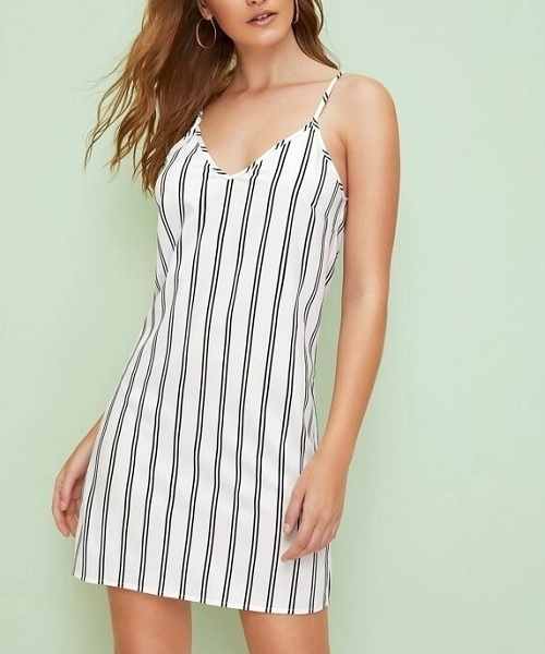 Picture of Double V Neck Striped Cami Dress