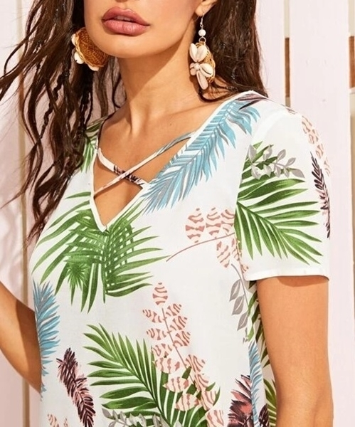 Picture of Strappy Neck Tropical Print Dress