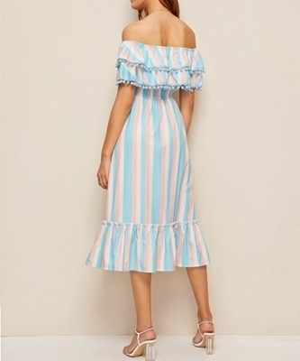 Picture of Off The Shoulder Pom Pom Ruffle Hem Dress