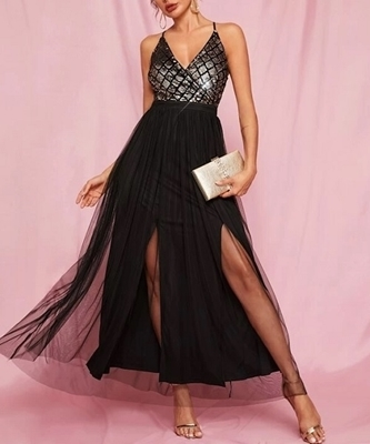Picture of Sequin Criss-cross Backless Cami Tulle Formal Dress