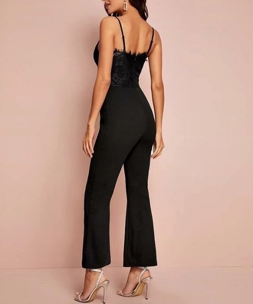 Picture of Eyelash Lace Bodice Flare Leg Bustier Cami Jumpsuit