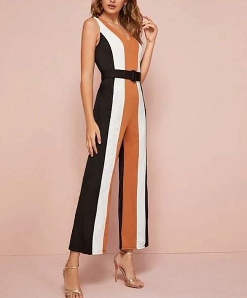 Picture of Striped Wide Leg Sleeveless Jumpsuit (Incl Buckle Belt)