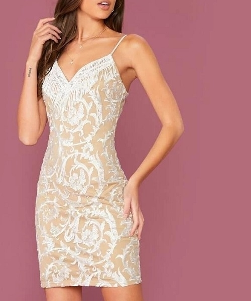 Picture of Lace Panel Fringe Embroidered Mesh Overlay Cami Cocktail Dress