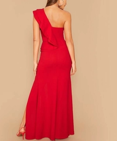 Picture of One Shoulder Ruffle Trim Split Thigh Long Bodycon Dress