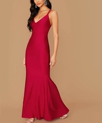Picture of Plunging Neck Crisscross Open Back Fishtail Formal Dress