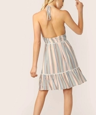 Picture of Lace Insert Open Back Striped Halter Dress