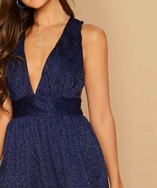 Picture of Glitter Plunging Neck Braided Strap Back Cocktail Dress