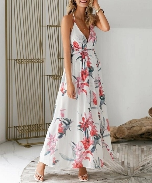 Picture of Floral Print Backless Wrap Split Slip Maxi Dress