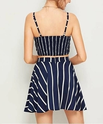 Picture of Striped Tie Front Shirred Cami Top & Skirt Set
