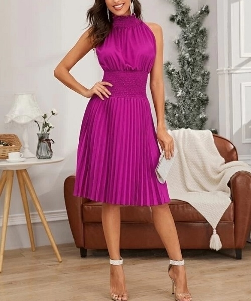 Picture of Halter Neck Shirred Waist Pleated Cocktail Dress