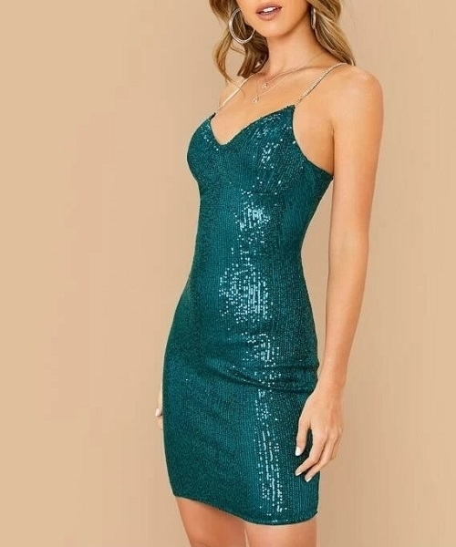 Picture of Rhinestone Strap Sequin Bustier Cocktail Dress