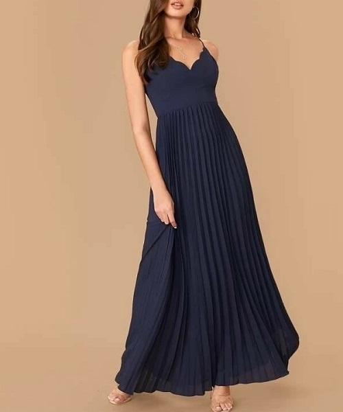 Picture of Scallop Edge Crisscross Back Pleated Maxi Formal Dress
