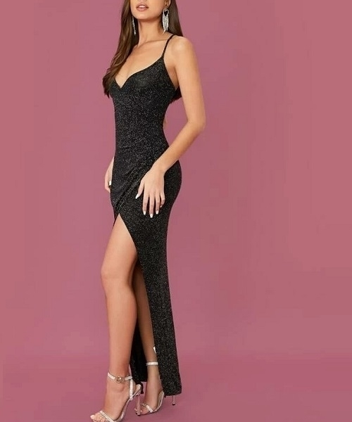 Picture of Glitter Wrap Cami Maxi Formal Dress