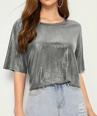 Picture of Solid Metallic Round Neck Tee