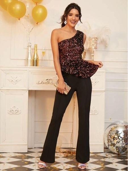 Picture of One Shoulder Sequin Peplum Top