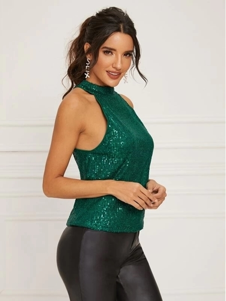 Picture of Sequin Halter Keyhole Back Evening Top