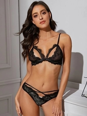 Picture of Floral Lace Criss Cross Lingerie Set