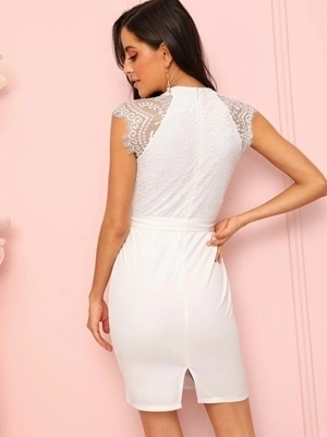 Picture of Cap Contrast Lace Belted Dress
