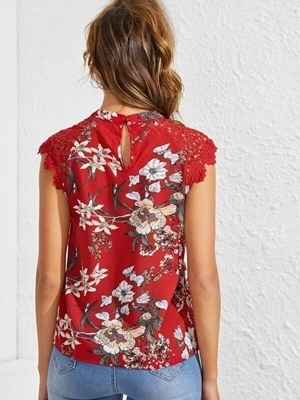 Picture of Floral Guipure Lace Insert Keyhole Top