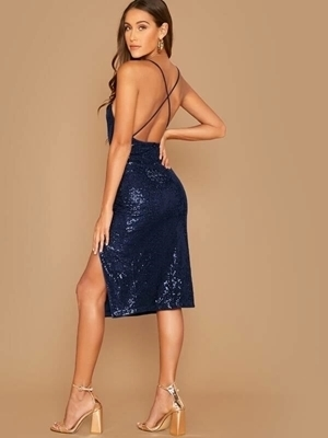 Picture of Cami Split Thigh Sequin Cocktail Dress