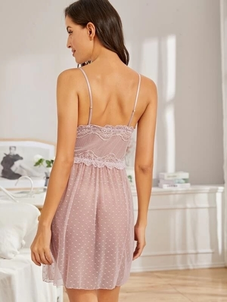 Picture of Polka Dot Contrast Lace Babydoll With Thong