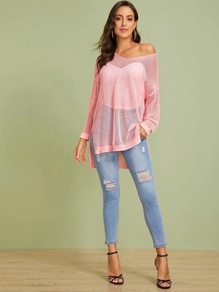 Picture of Sheer Eyelet V-Neck Split Hem Cover Up