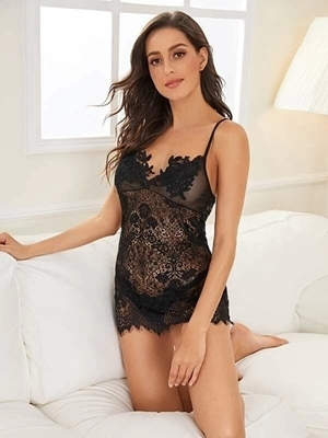 Picture of Flower Applique Eyelash Lace Babydoll With Thong