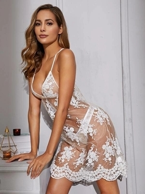Picture of Floral Sheer Embroidery Mesh Babydoll With Thong